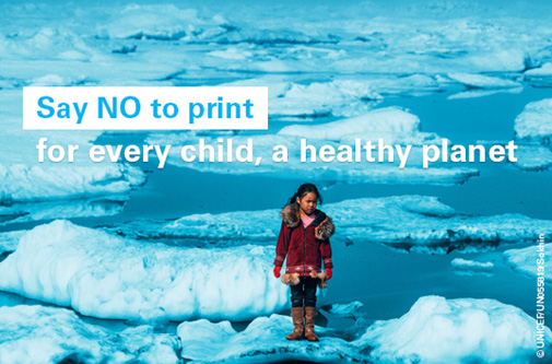 A girl stands on an ice floe on a shore of the Arctic Ocean in Barrow, Alaska in the United States of America. Photo credit: © UNICEF/UN055819/Sokhin