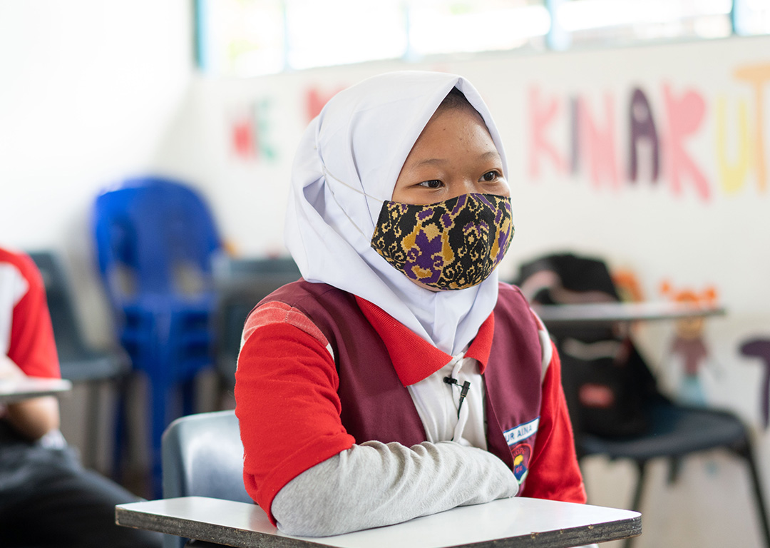 Nur Aina in her classroom at the Community Learning Centre